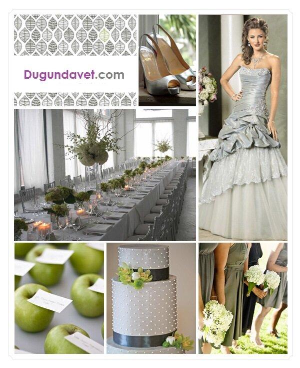 gri renk düğün konsepti